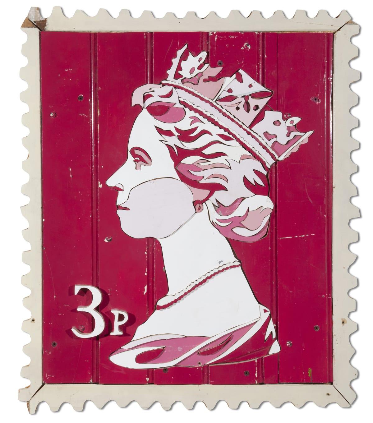3p Queen Stamp Colored salvaged wood 100 x 85 x 3.5 cm