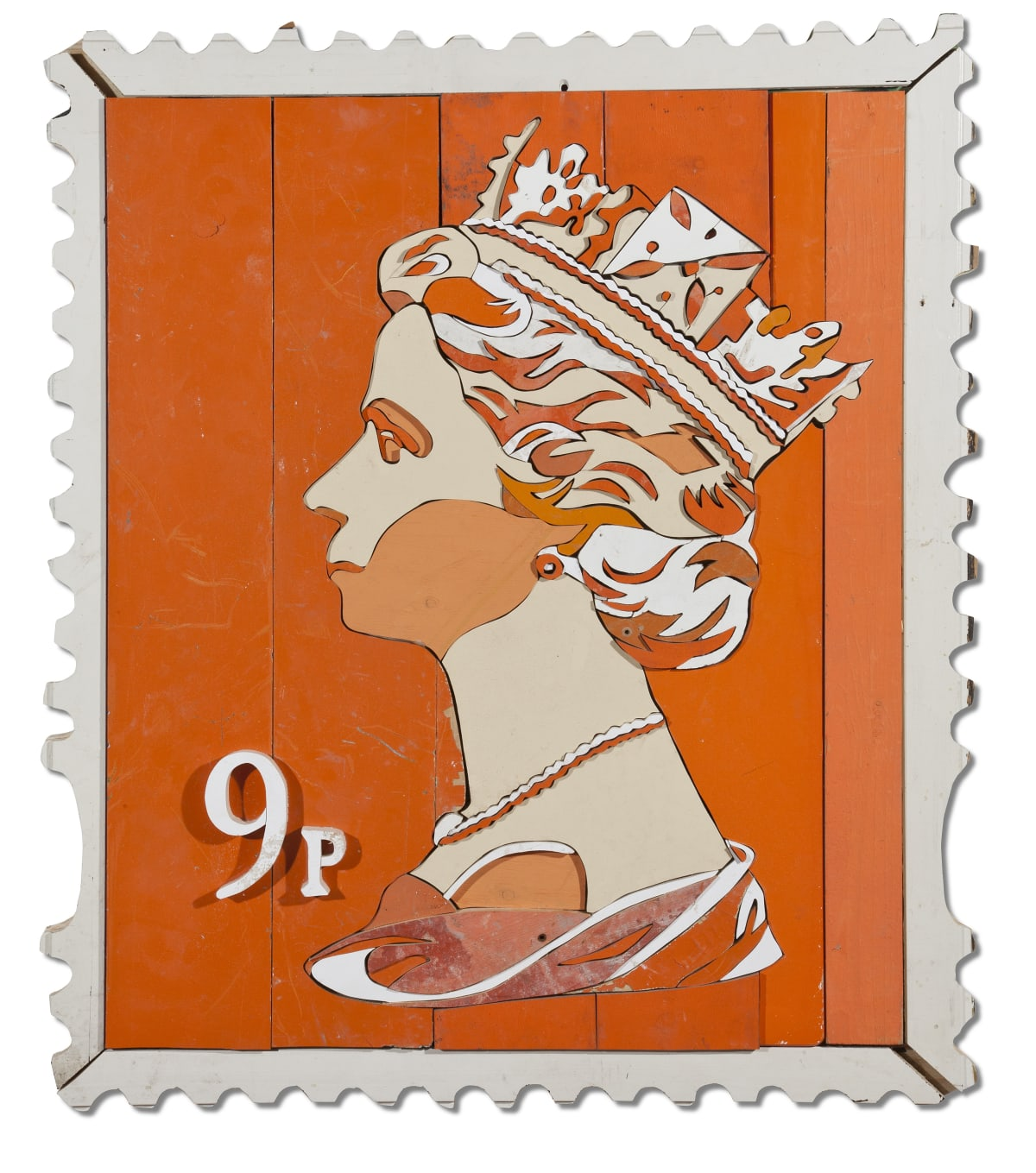 9p Queen Stamp Colored salvaged wood 100 x 85 x 3.5 cm