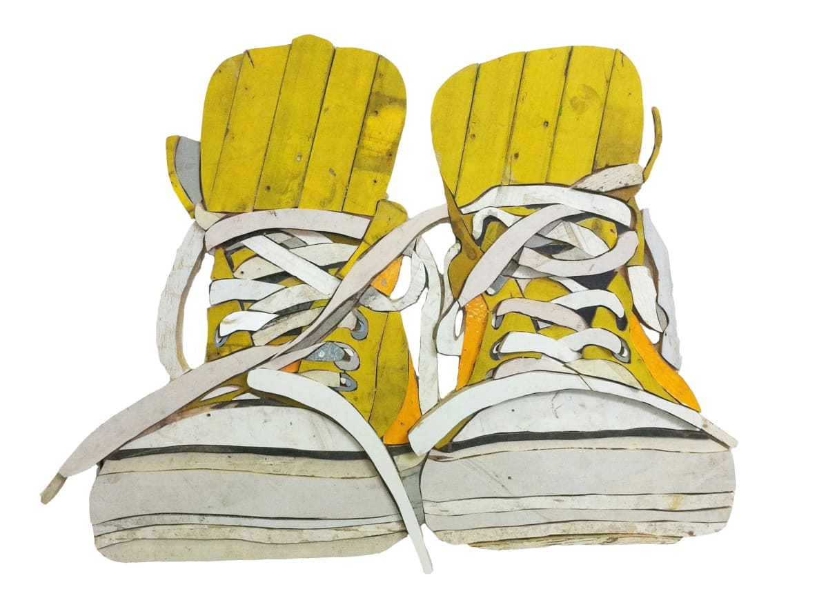 All Stars Yellow Colored salvaged wood 90 x 117 x 3.5 cm