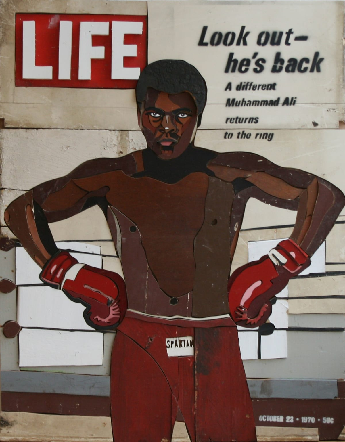 Muhammad Ali is Back Colored salvaged wood 87 x 111 x 3.5 cm