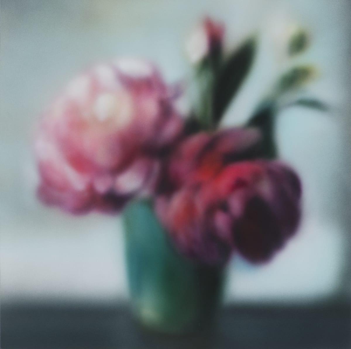 Silk Peonies Acrylic on panel 40.5 x 40.5 cm