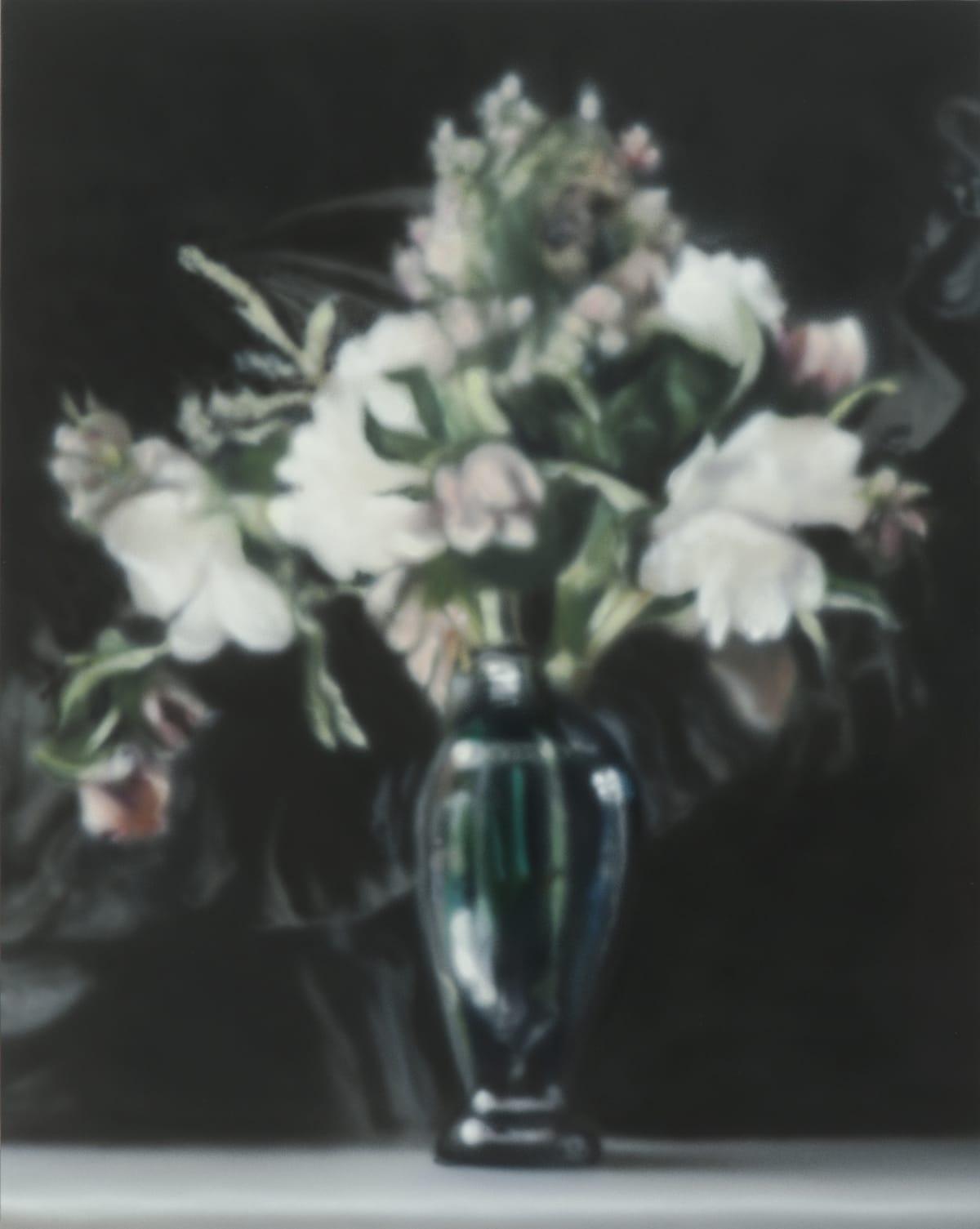 White Bouquet on Black Acrylic on panel 50 x 40 cm