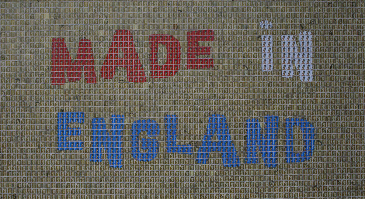 John Dowell Made in England Stamps on board 94.5 x 162.5 cm