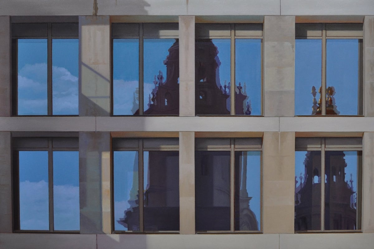 Carl Laubin Reflections on the Stock Exchange oil on canvas 71 x 106 cm