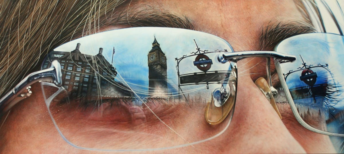 Simon Hennessey Westminster Acrylic and ink on canvas 61 x 137 cm
