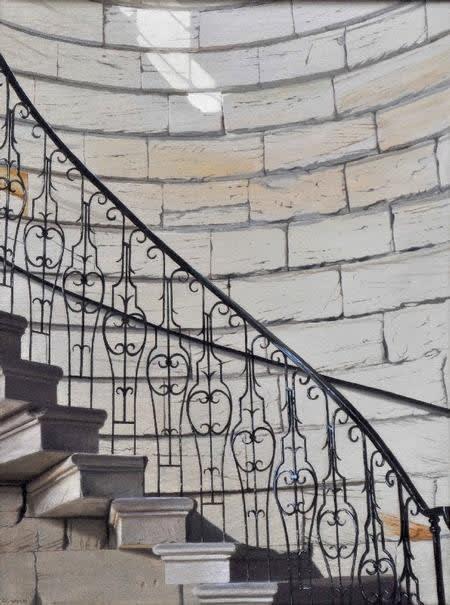 Staircase, Seaton Delaval oil on canvas 61 x 45 cm