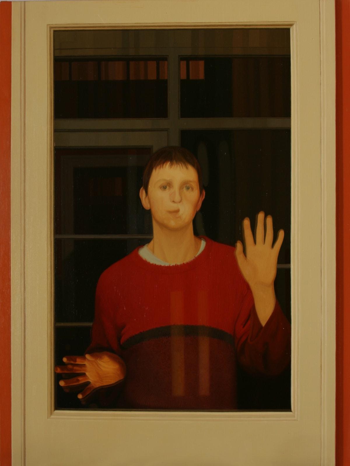 Philip Harris L.H. Behind a Glass Door oil on linen 40 x 30 cm