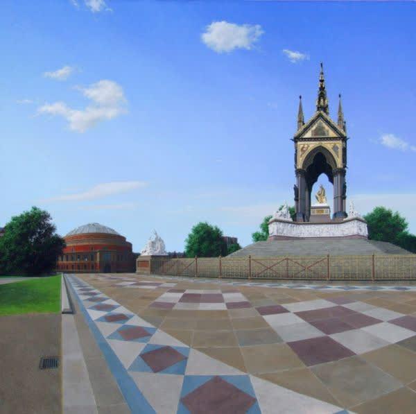 Steve Whitehead Albert Hall and Memorial Acrylic on canvas 122 x 122 cm