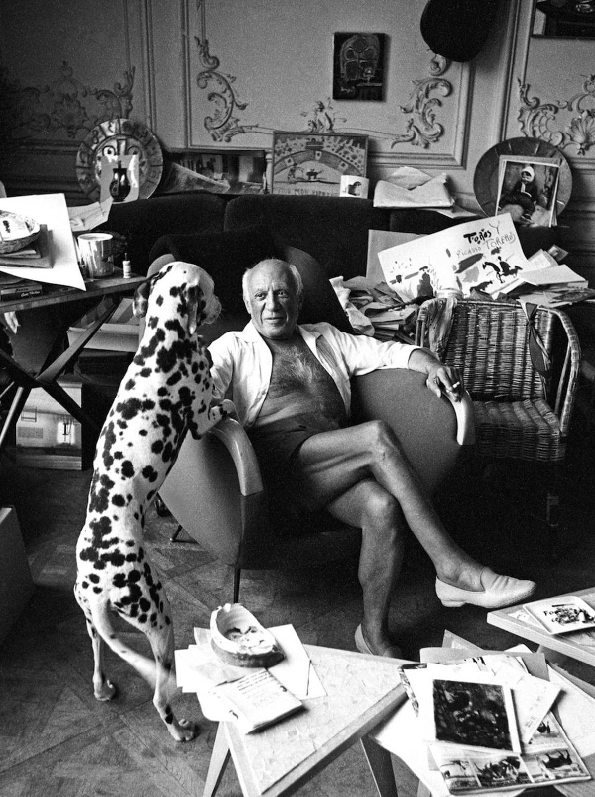 Edward Quinn, Pablo Picasso and his Dog Perro, Villa la Californie, Cannes, 1961