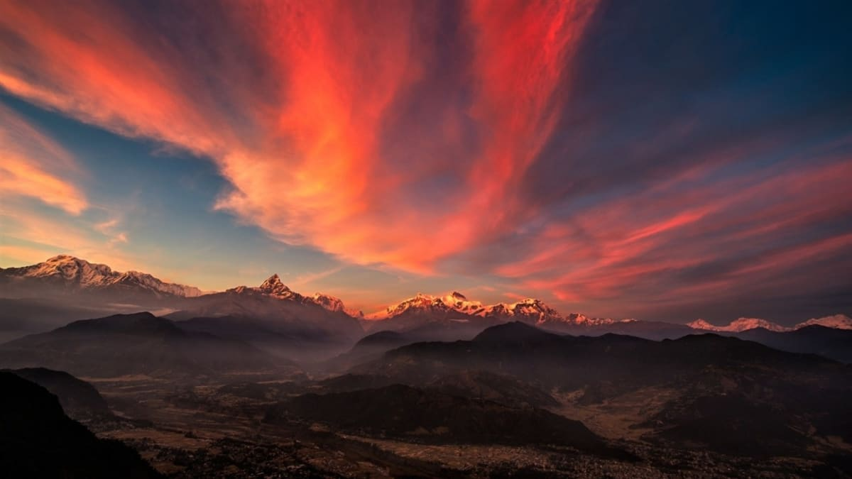 Sunrise Valley Tibet Mountains Nature Wallpaper 1366X768