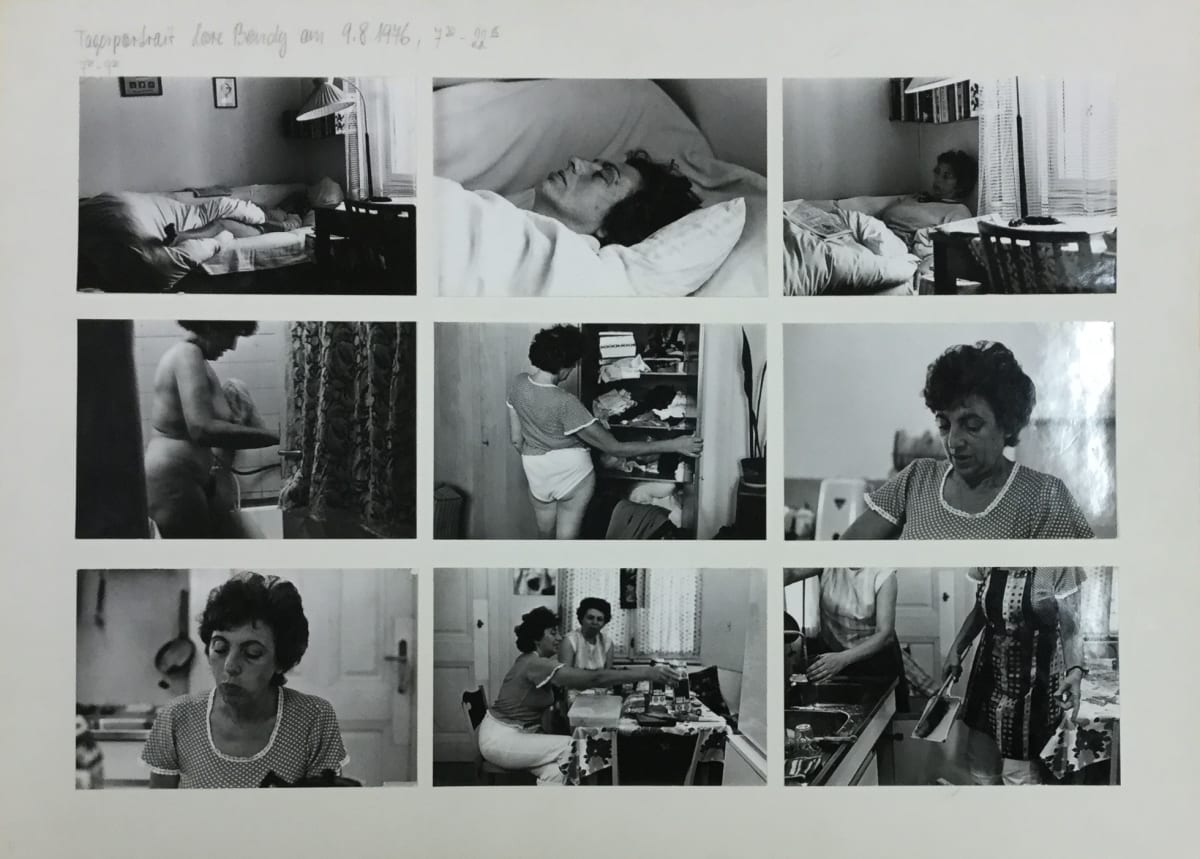 Friedl KUBELKA Tagesportrait: Lore Bondy am 9.8.1976, 7:30 - 22:15, 1976 61 vintage gelatin silver prints mounted on 7 sheets of card Each sheet: 32 x 44 cm