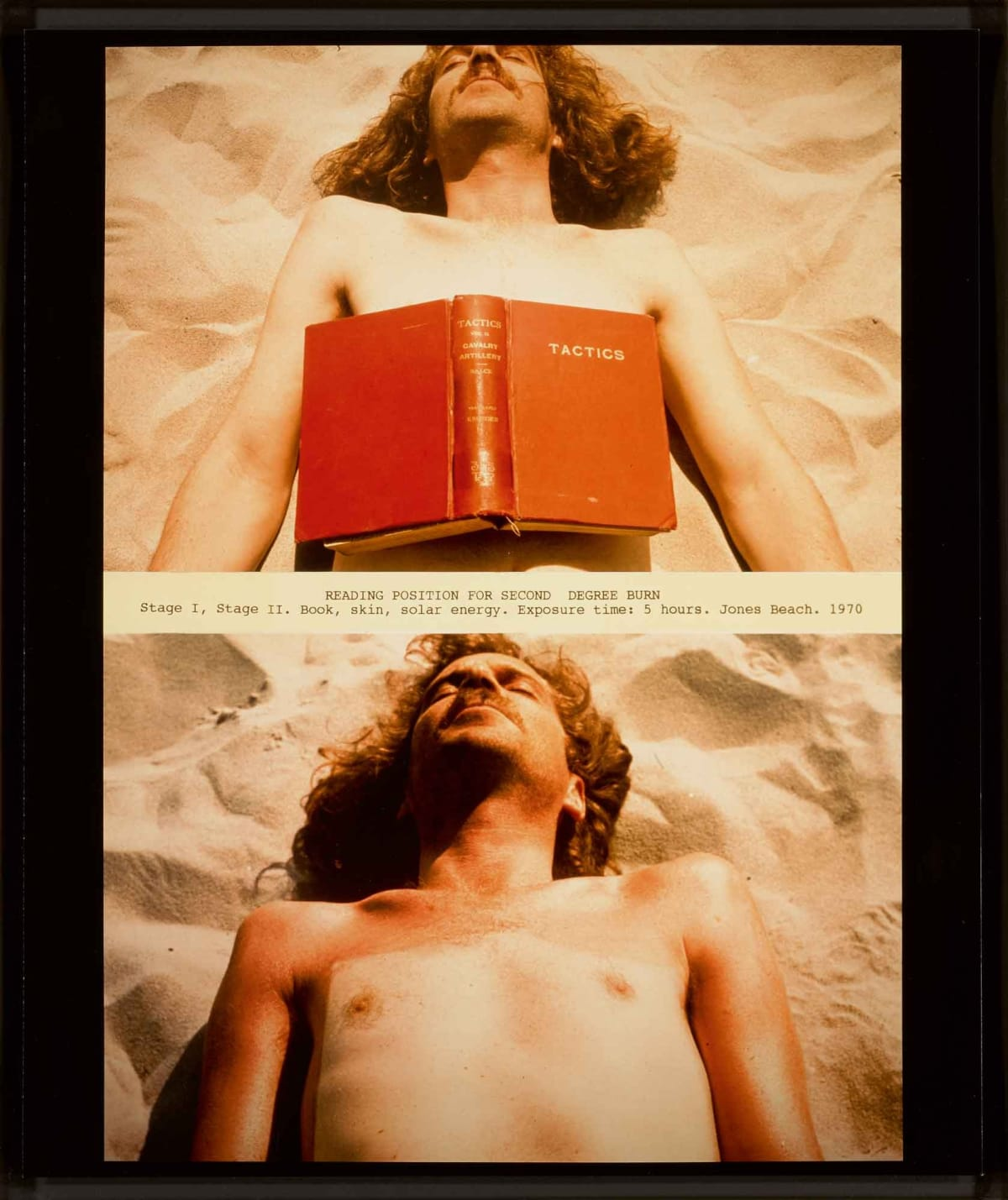 Dennis OPPENHEIM 1938 - 2011 Reading Position for Second Degree Burn, 1970 Signed and editioned 4/30 in ink on reverse Chromogenic print (Printed 2000-2001) 59.7 x 42.5 cm Edition 4 of 30 (DOP002) Copyright Dennis Oppenheim Courtesy Oppenheim Estate