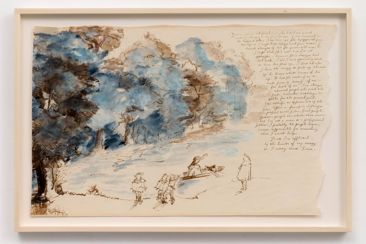 """Eleanor ANTIN Years ago an old friend said from """"The King's Meditations"""" no. 9, 1974-75 Watercolour, ink, pastel on matt paper 45 x 71 cm"""