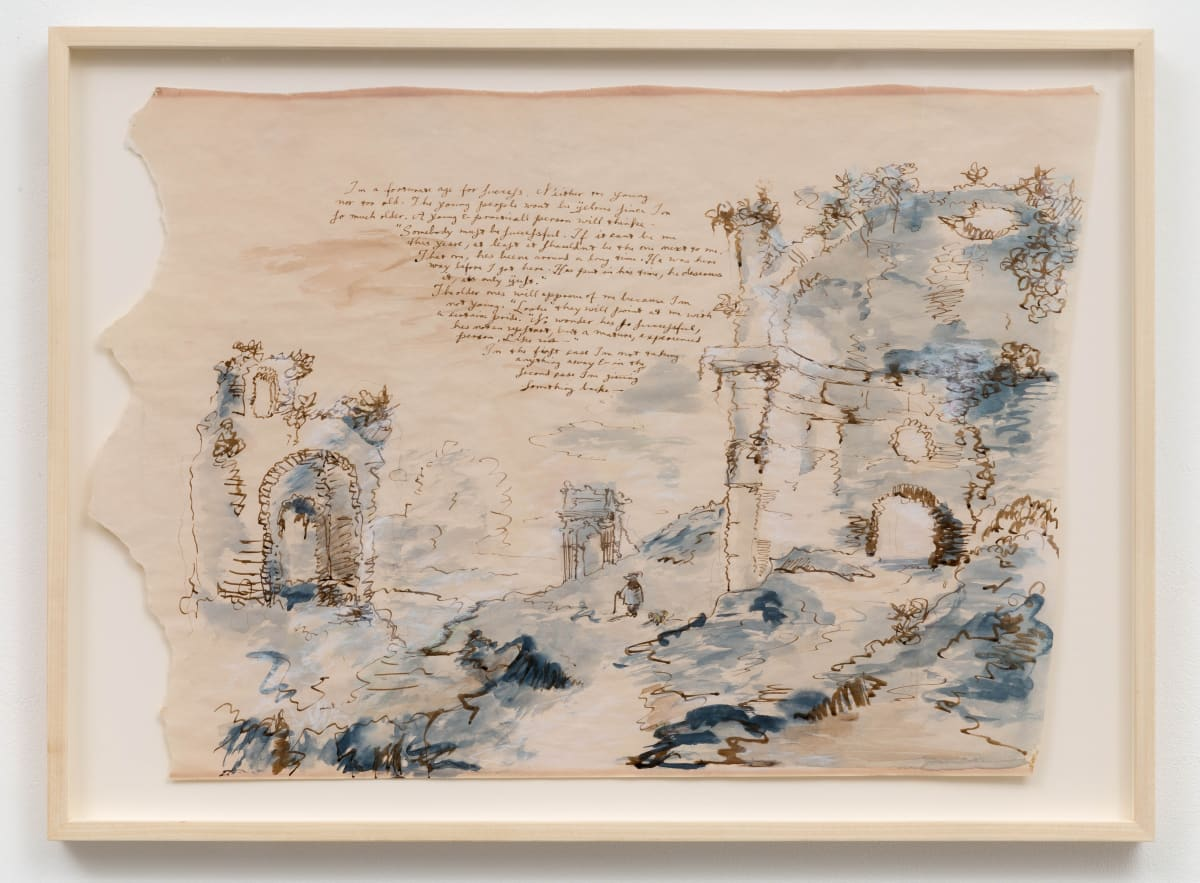 """Eleanor ANTIN I'm a fortunate age from """"The King's Meditations"""" no. 12, 1974-75 Watercolour, ink, pastel on matt paper 45 x 63.5 cm"""