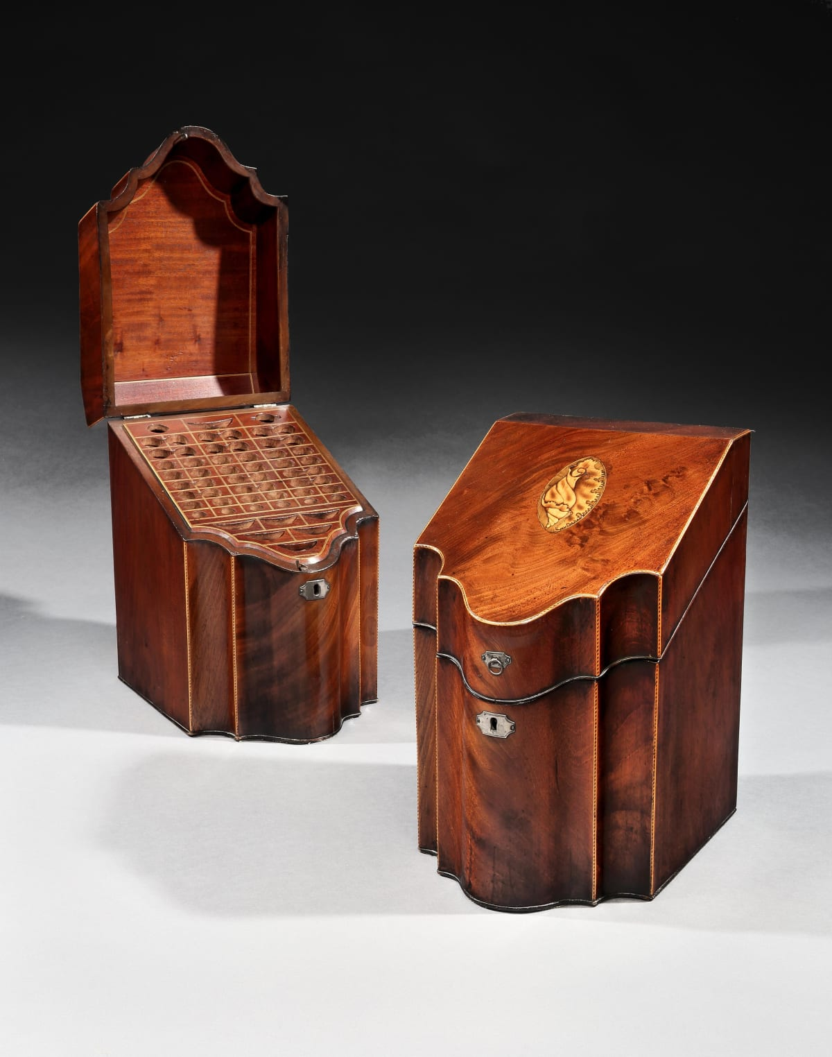 A PAIR OF GEORGE III CUTLERY BOXES, ENGLISH, CIRCA 1790