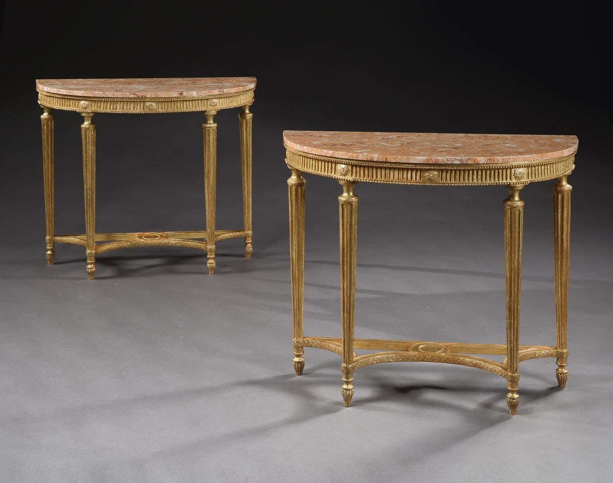 A PAIR OF GEORGE III GILTWOOD SIDE TABLES, ENGLISH CIRCA 1790