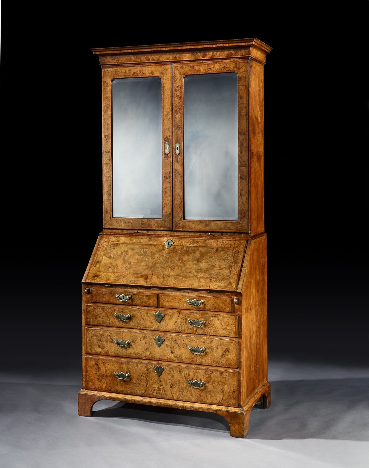 A GEORGE I WALNUT BUREAU BOOKCASE, English, circa 1720