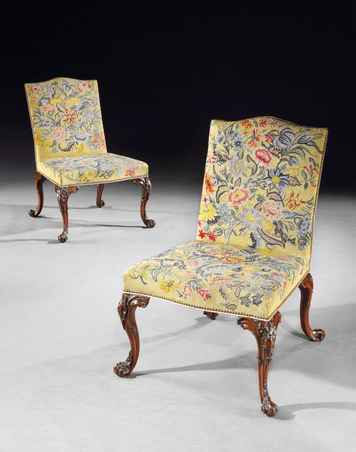 A PAIR OF GEORGE II CARVED MAHOGANY SIDE CHAIRS , English, circa 1770