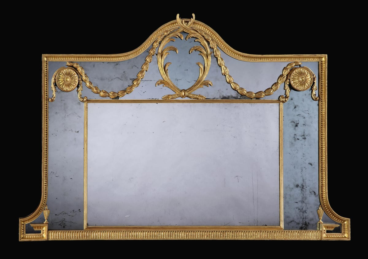 GEORGE III GILTWOOD OVERMANTLE MIRROR, ENGLISH, CIRCA 1775