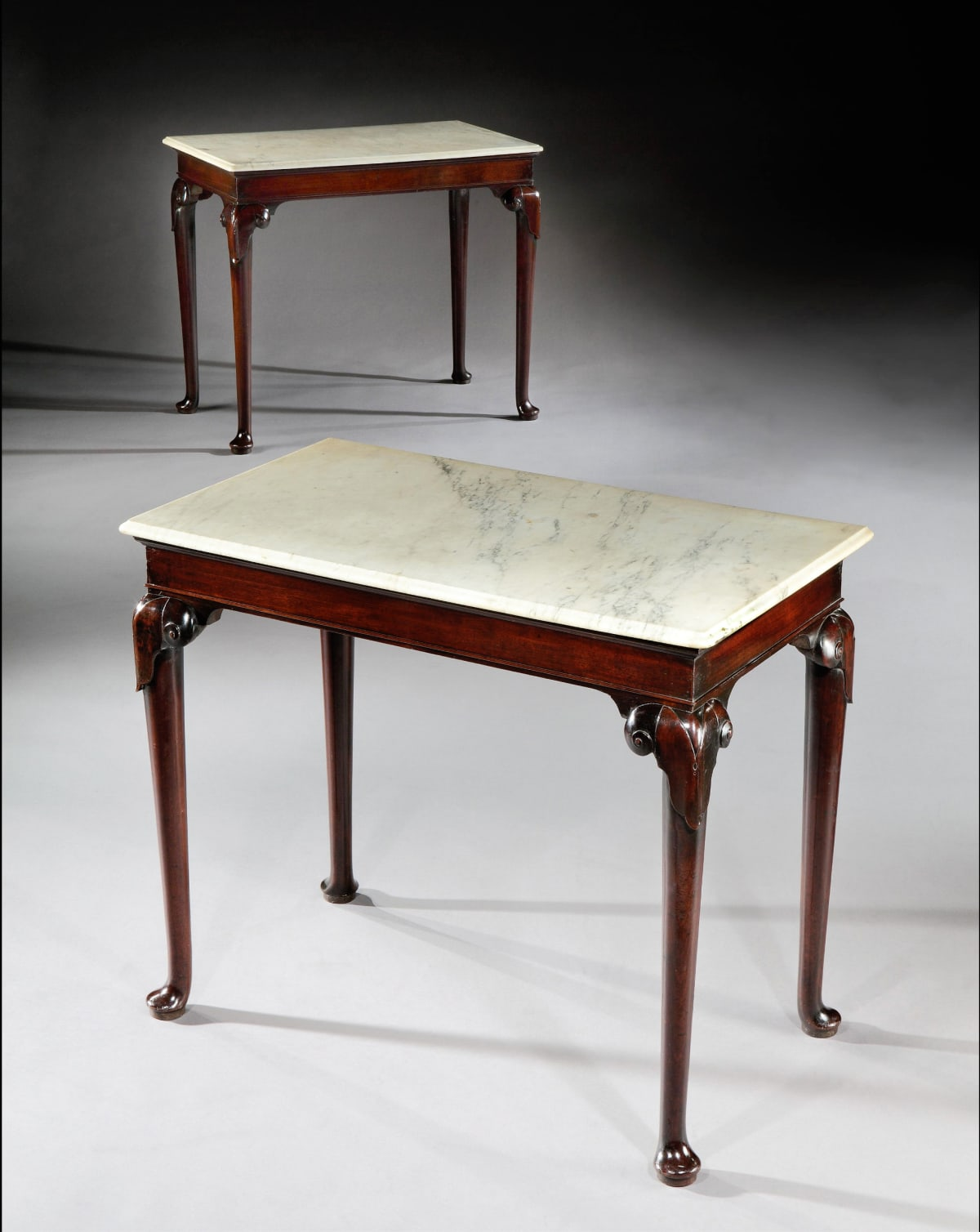 A PAIR OF GEROGE II MAHOGANY SIDE TABLES, English, circa 1765