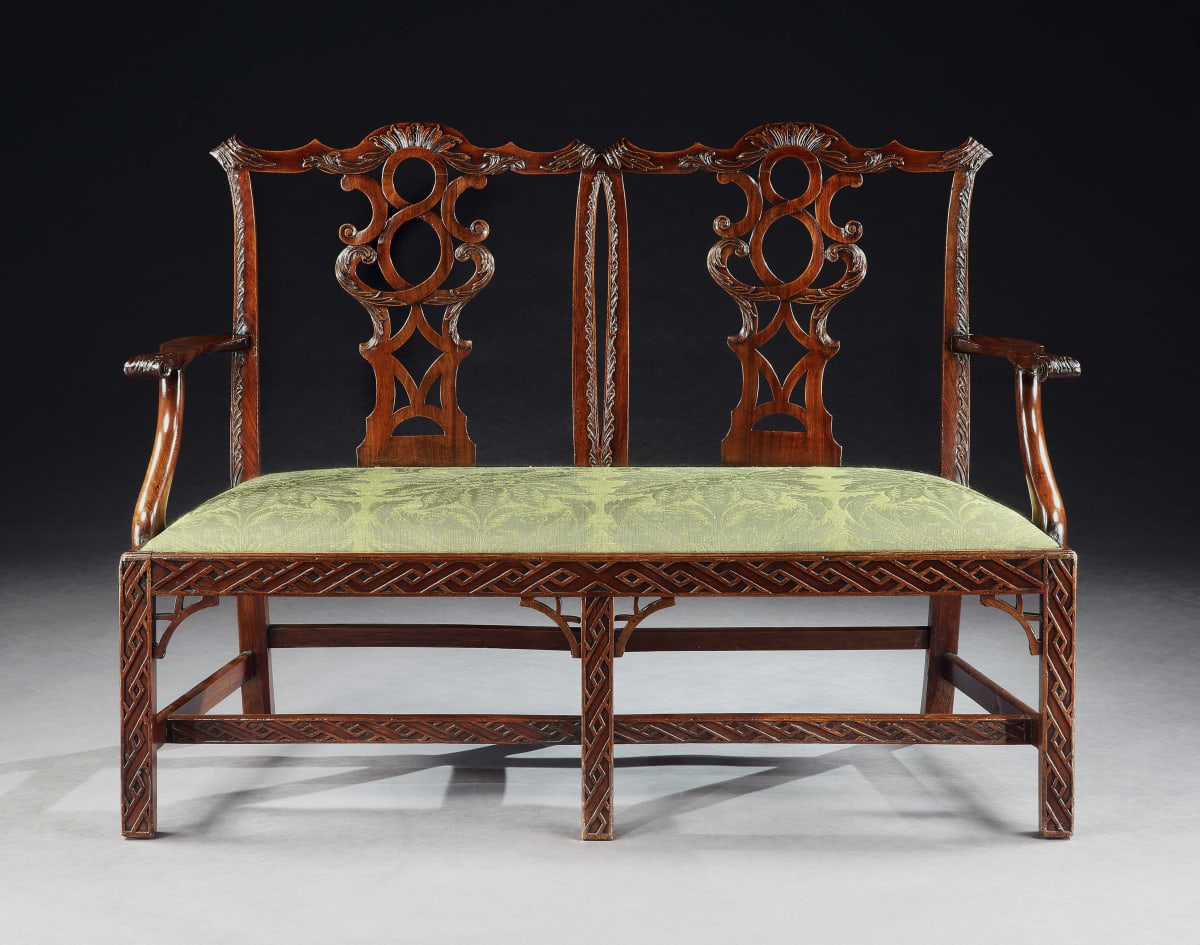 A GEORGE III CARVED MAHOGANY SETTEE, English, circa 1760