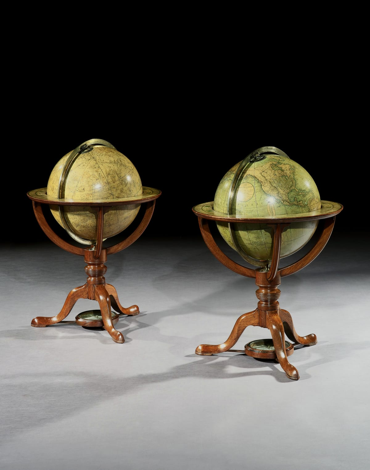 A PAIR OF GEORGE III TABLE GLOBES BY J.W CARY, ENGLISH, CIRCA 1816