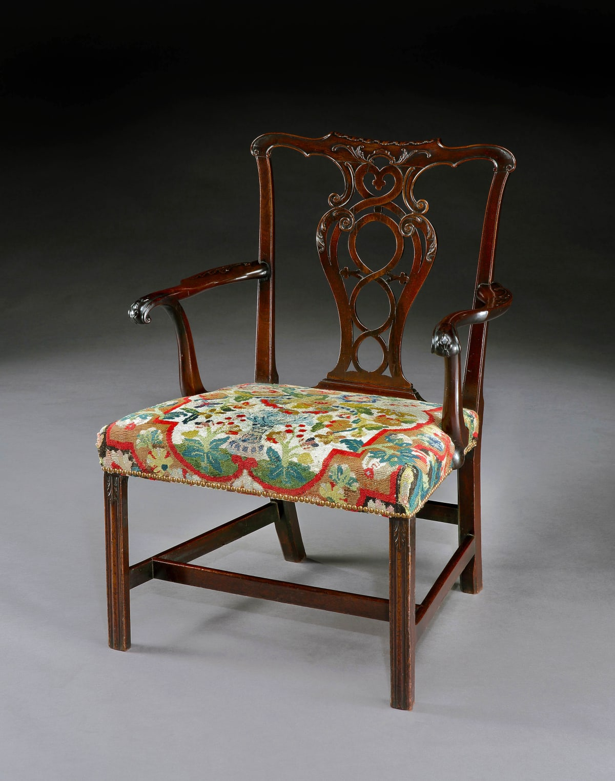 A GEORGE III CARVED MAHOGANY CHAIR, ENGLISH, CIRCA 1765