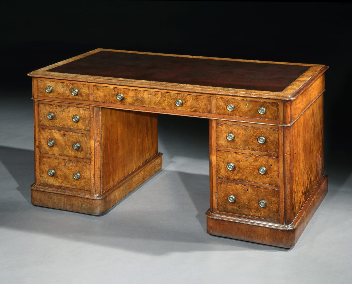 A VICTORIAN BURR WALNUT PEDESTAL DESK, ENGLISH CIRCA 1860