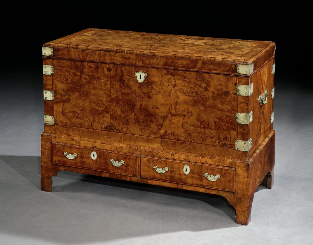 A GEORGE I WALNUT COFFER ON STAND, ENGLISH CIRCA 1720