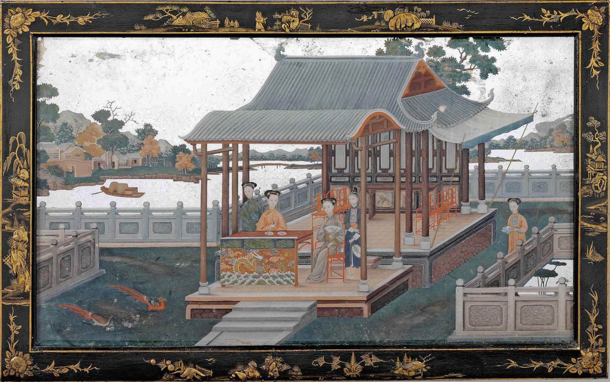 A MID 18th CENTURY CHINESE EXPORT MIRROR PAINTING, ENGLISH, CIRCA 1780