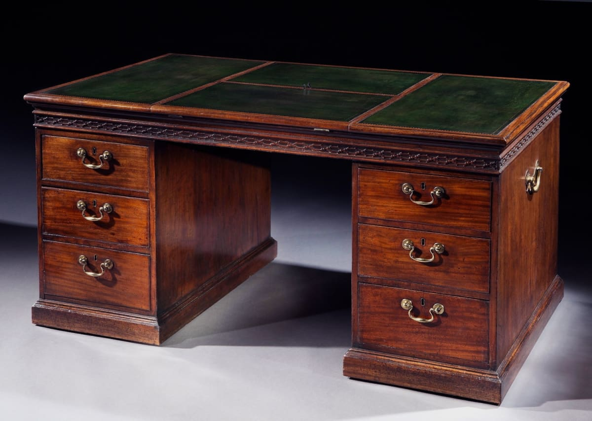 A George III Mahogany Pedestal Desk, English, circa 1765