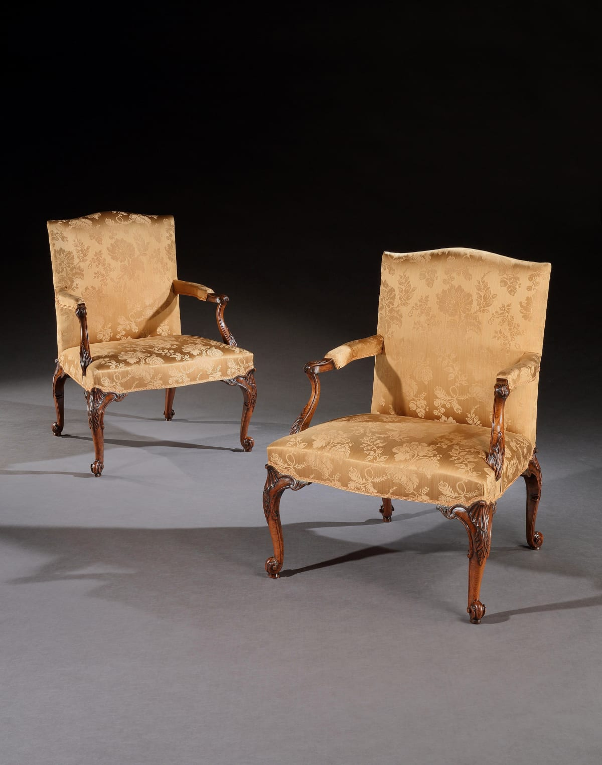 A PAIR OF GEORGE III WALNUT LIBRARY CHAIRS, English, circa 1770