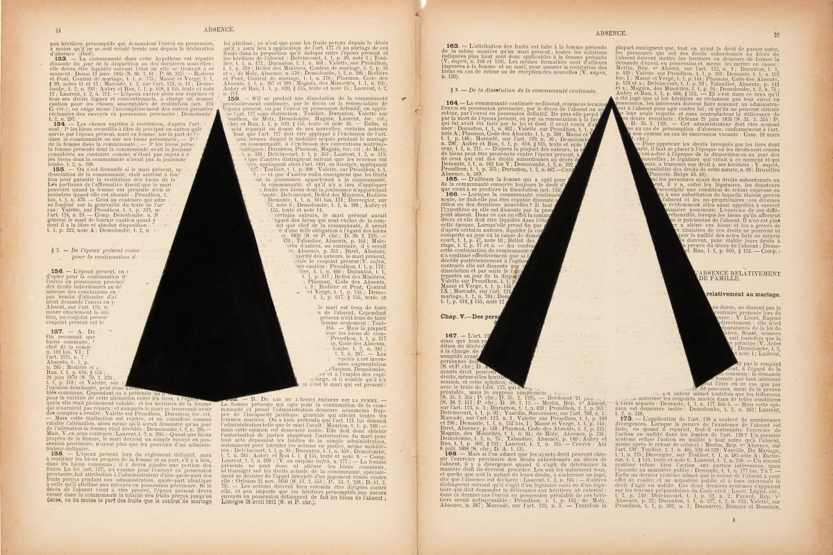 Marinda Vandenheede, 2021, Pars Pro Toto - Absence I, Ink on book pages from 1929, 26.7 x 36 cm, 10 1/2 x 14 1/8 in. Photo: David Samyn