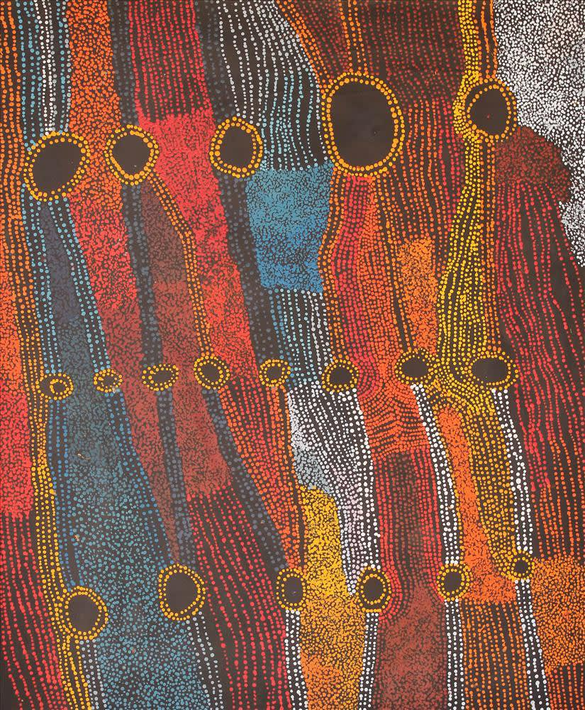 Bernard Tjalkuri Kalaya Tjuta acrylic on linen 100 x 120 cm