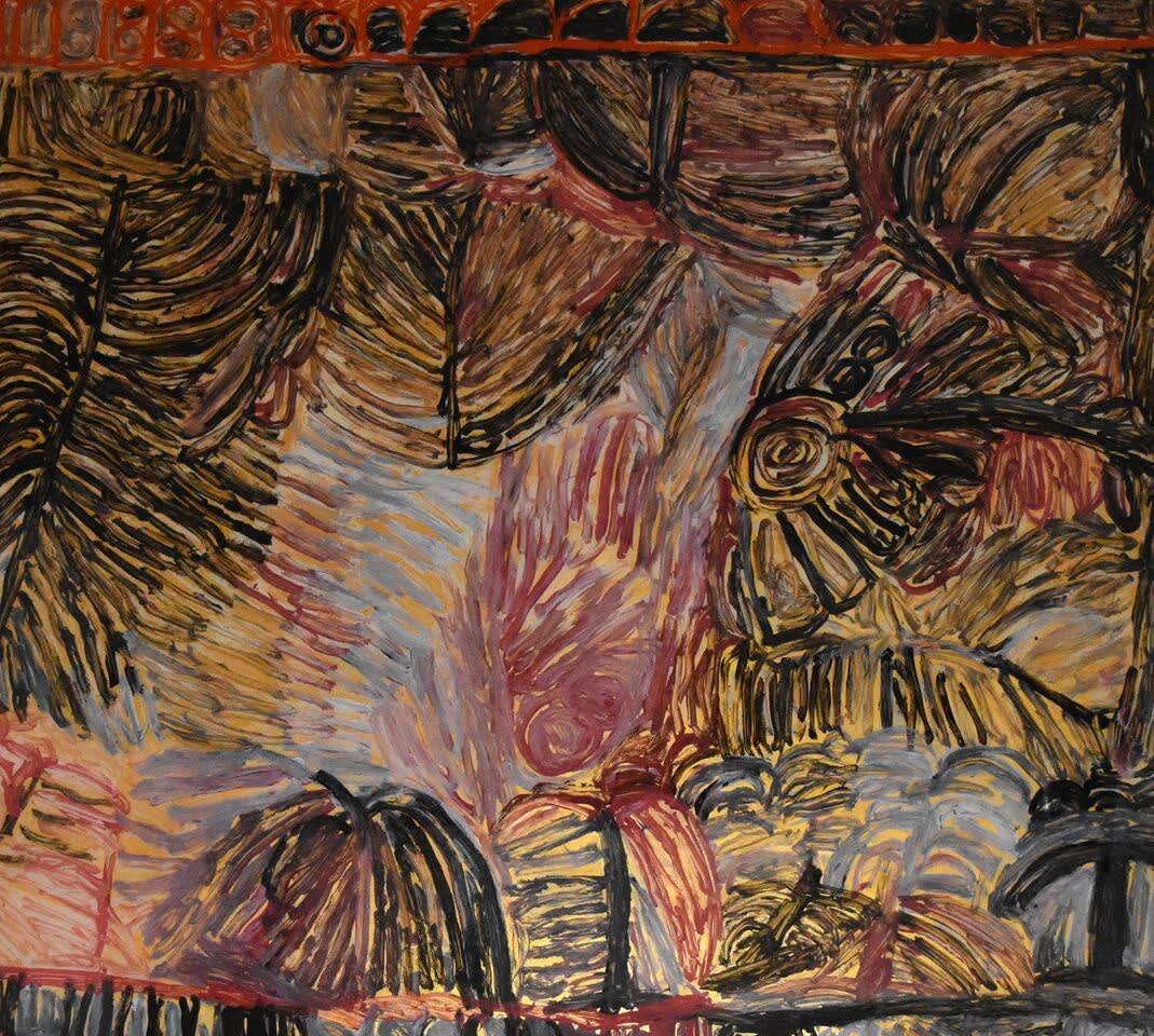 Sonia Kurarra Martuwarra acrylic on polycarbonate 122 x 135 cm