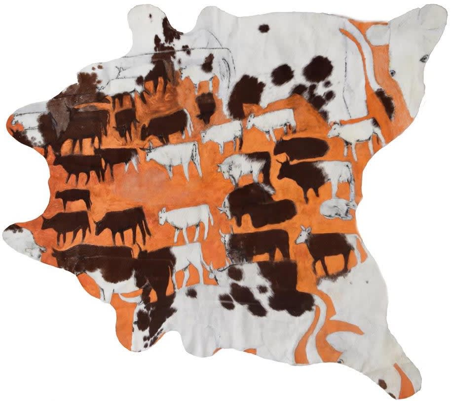 Mervyn Street Short Horn Cow Hide, 2019 Acrylic paint on carved cow hide 210 x 190 cm