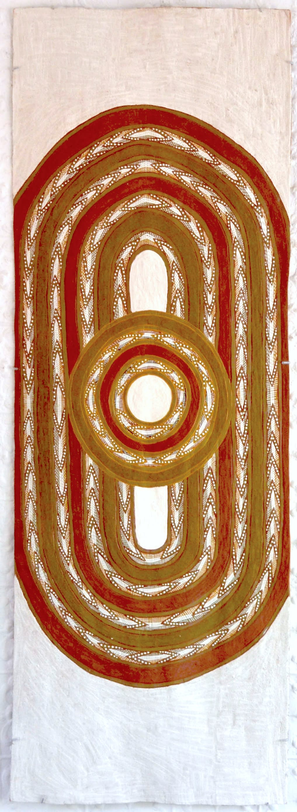 Ralwurrandji Wanambi Bamurrungu incised bark with sand and earth pigments 184 x 65 cm