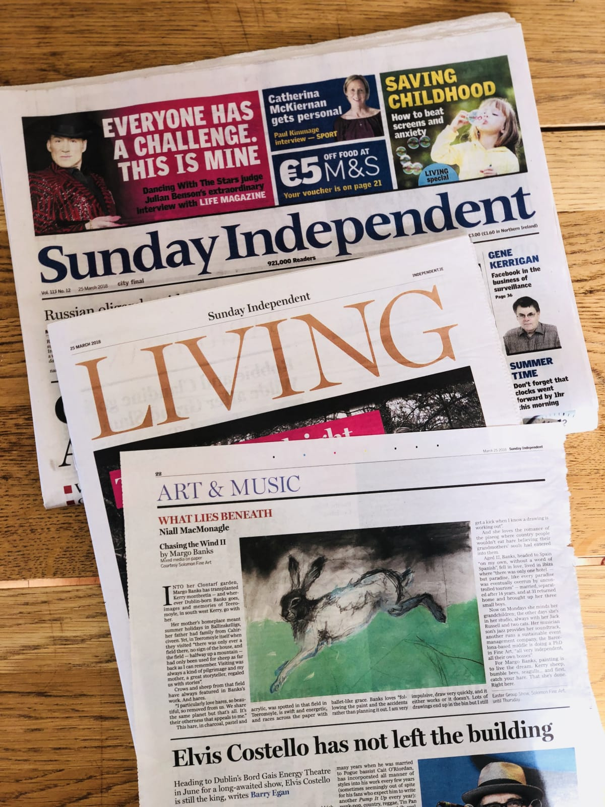 MARGO BANKS feature in Sunday Independent