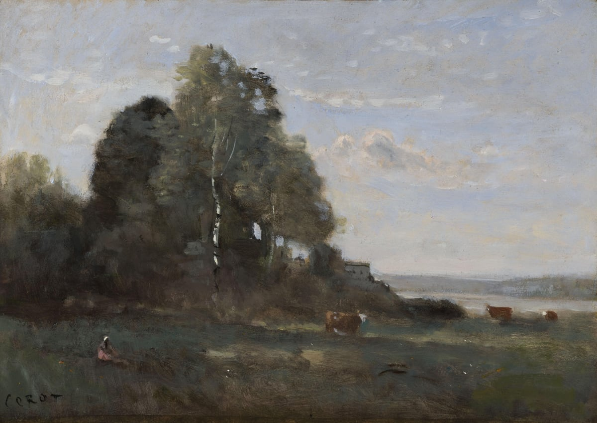 Jean Baptiste Camille Corot, Vachère au bord de l'étang, c.a 1850
