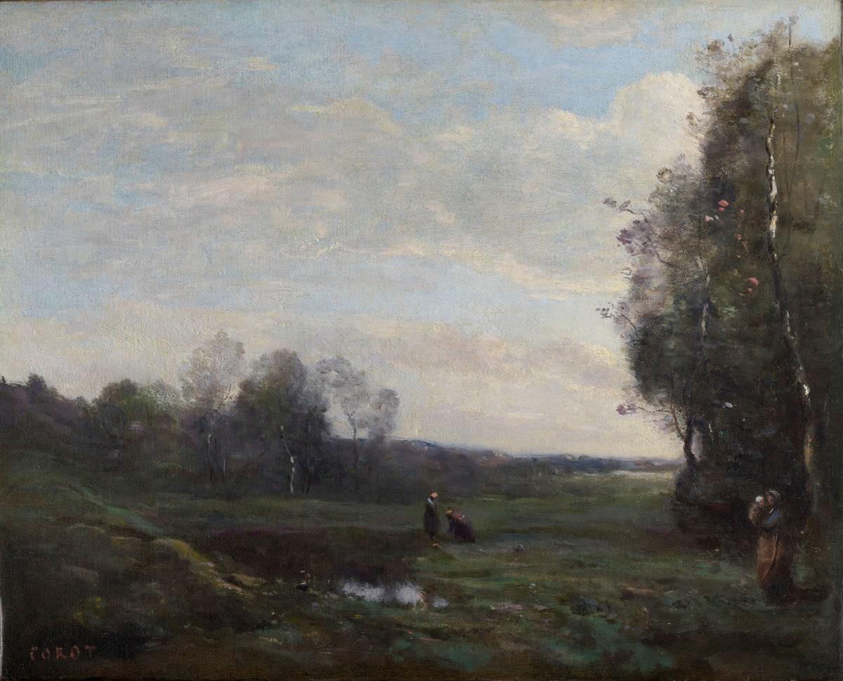 Jean Baptiste Camille Corot Trois paysannes dans une clairière, c.1860-1865 Oil on canvas 37.7 x 46.4 cm 14 13/16 x 18 1/4 inches Signed 'COROT' lower left