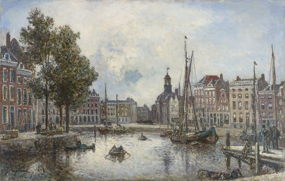 Johan-Barthold Jongkind, Le port de Rotterdam, le matin; vue sur la Bourse, , 1869