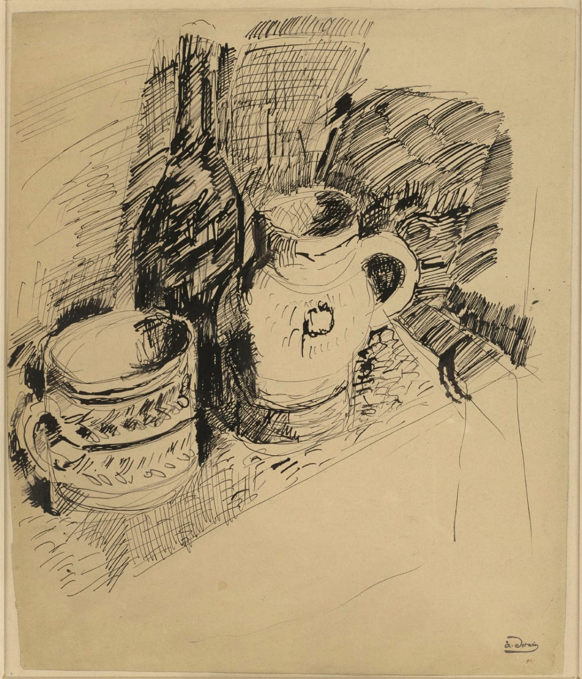 André Derain Nature morte, c. 1904 Pen and black ink on paper 38 x 32.1 cm 15 x 12 5/8 inches Stamped lower right a.derain