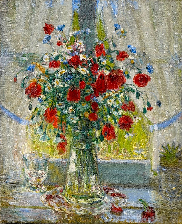 Pierre-Eugène Montezin, Bouquet de fleurs champêtres et coquelicots devant la fenêtre
