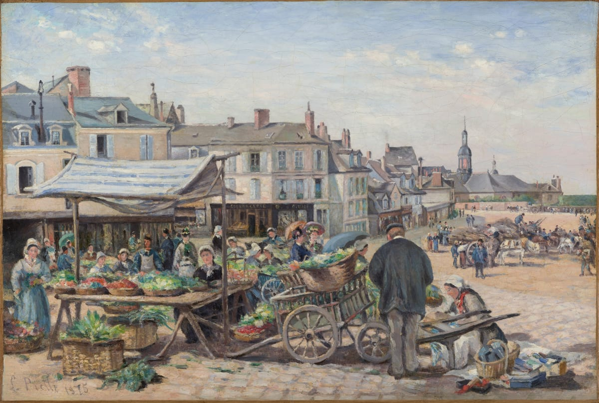 Ludovic Piette, Le marché, Le Mans, 1875