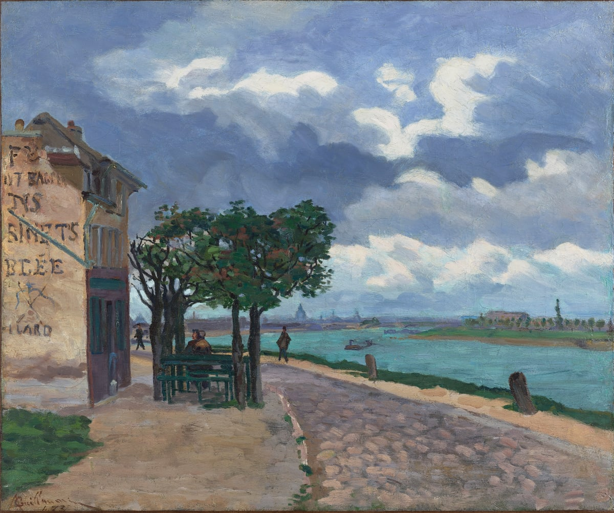Armand Guillaumin Bords de la Seine, 1873 Oil on Canvas 54.1 x 65.2 cm 21 ¼ x 25 5/8 inches Signed and dated lower right