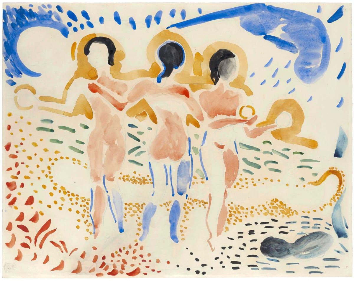 André Derain Les trois Grâces, c. 1906 Watercolour on paper 47.7 x 60.5 cm 18 13/16 x 23 13/16 inches Signed lower right a.derain Watermark Bristol lower left