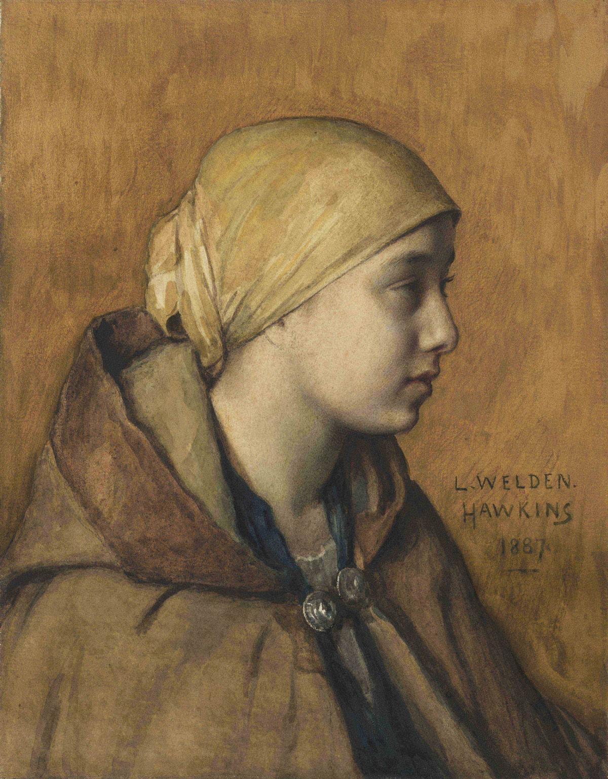 Louis Welden Hawkins, Portrait d'une jeune paysanne, 1887