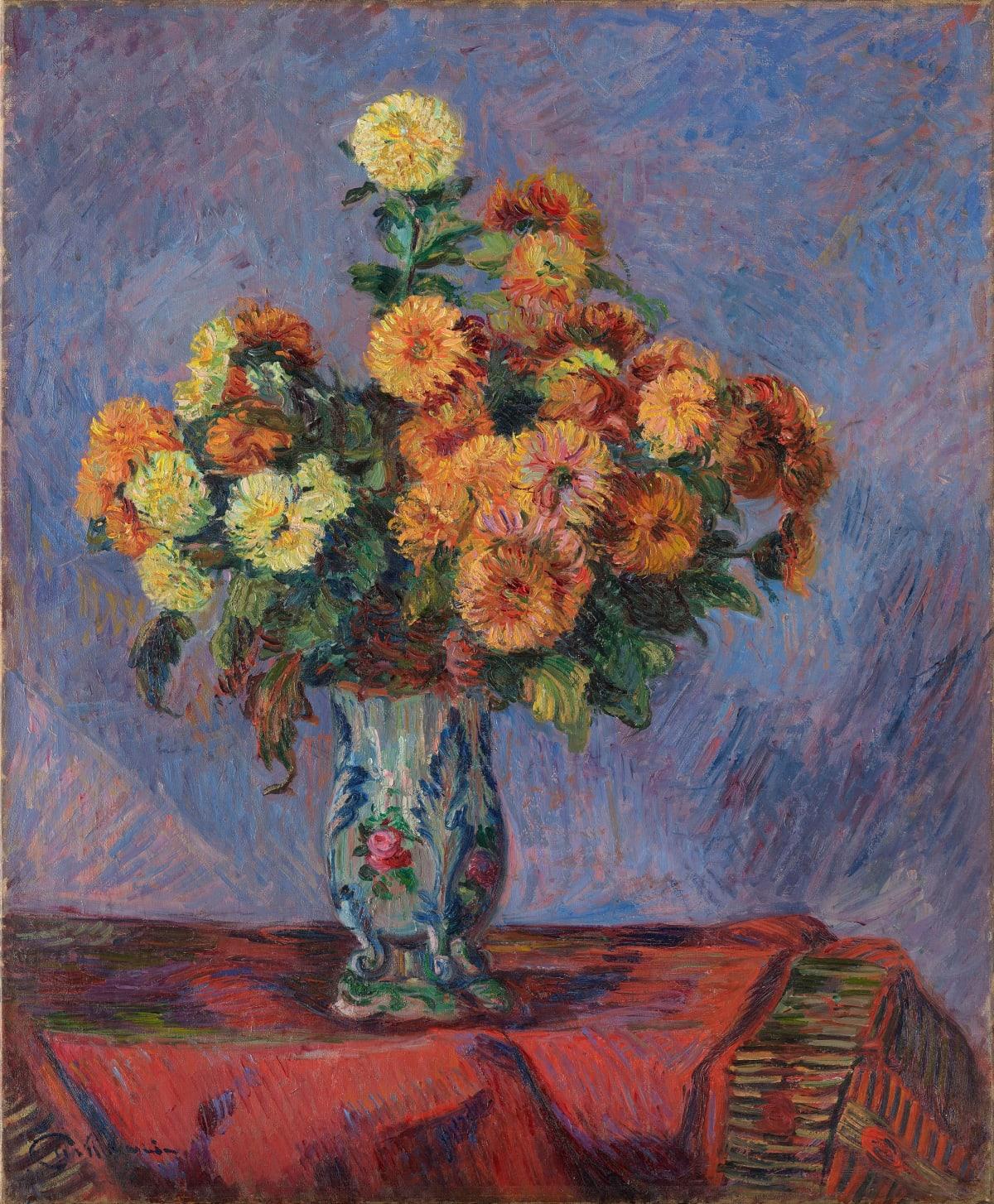 Armand Guillaumin Bouquet de fleurs sur une table, c.1900 Oil on canvas 72.5 x 60 cm 28 9/16 x 23 5/8 inches Signed lower left