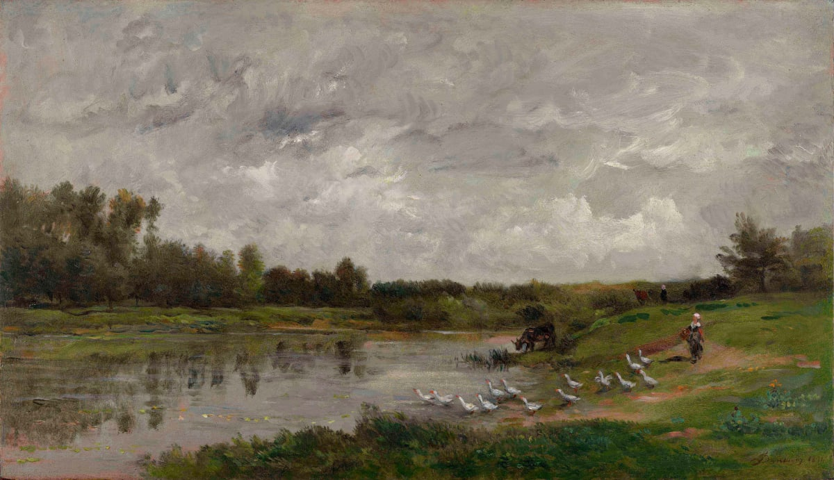 Charles François Daubigny Les gardeuses d'oies, 1874 Oil on panel 38.9 x 67.1 cm 15 5/16 x 26 7/16 inches Signed and dated lower right '1874'