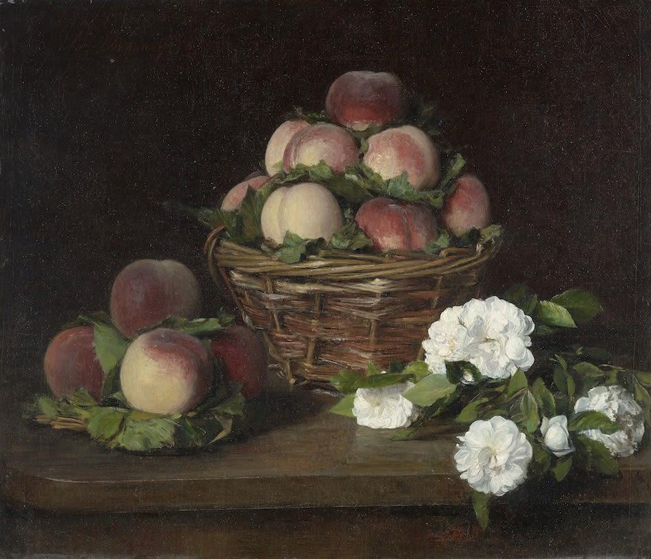 Victoria Dubourg ( Fantin Latour), Nature morte aux fleurs et pêches , 1874